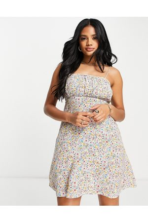 Accessorize Ruched mini dress in floral ditsy print-Multi