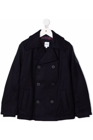HUGO BOSS Logo-patch double-breasted coat