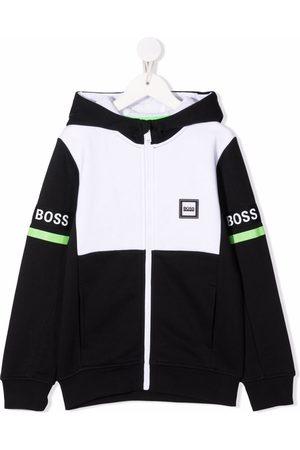 HUGO BOSS Logo-print colour-block zip-up jersey bomber jacket