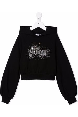 Msgm Rhinestone cotton hoodie