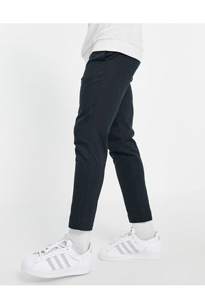 Only & Sons Linen trousers with drawstring waist in navy