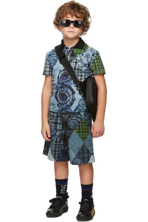 Versace Poloshirts - Kids Blue & Black Barocco Argyle Polo