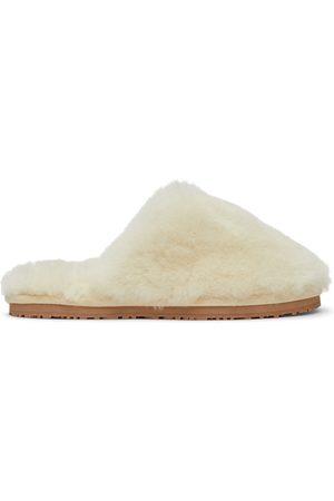 Mou White Closed Toe Sheepskin Slippers