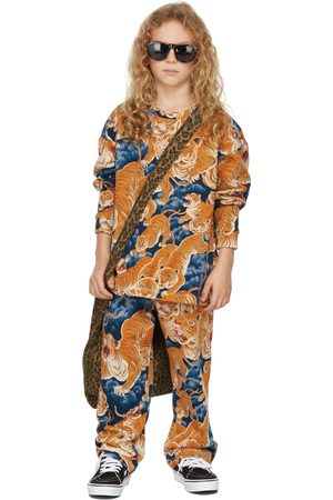 BO(Y)SMANS Kids Blue & Orange Tiger Long Sleeve T-Shirt
