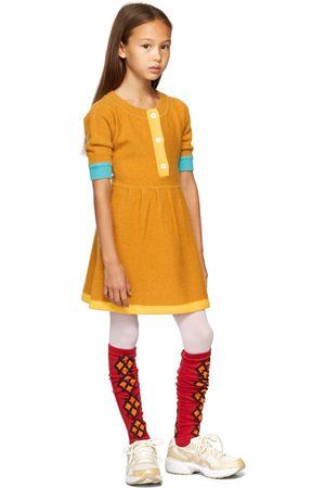 Ligne Noire Kids Gold Virgin Wool Long Sleeve Little Dress