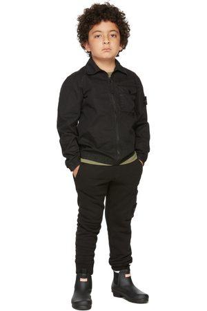 Stone Island Kids Black Zip-Up Overshirt