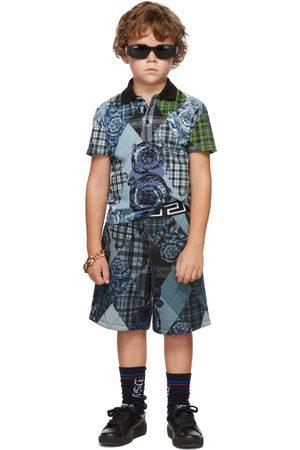 VERSACE Kids Blue & Green Barocco Argyle Shorts