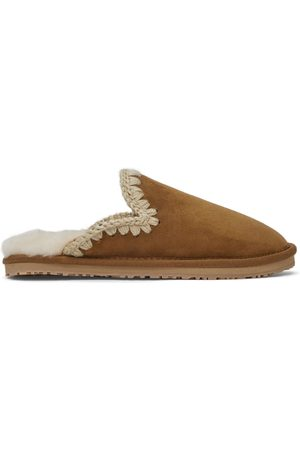 Mou Brown Suede Stitch Slippers