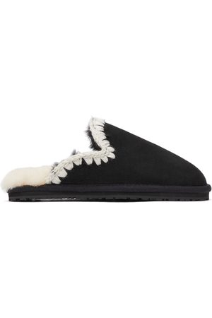 Mou Black Suede Slippers