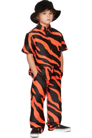 BO(Y)SMANS Kids Orange & Black Zebra Short Sleeve Shirt