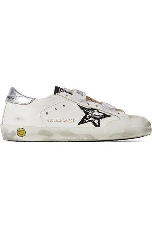 Golden Goose Kids White & Silver Old School Penstar Velcro Sneakers