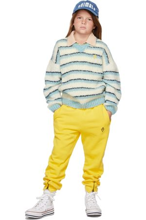 The Animals Observatory Kids White & Blue Stripes Toucan Sweater