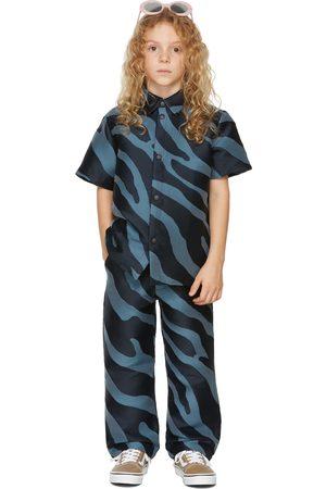 BO(Y)SMANS Kids Blue Zebra Short Sleeve Shirt