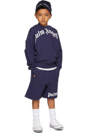 Palm Angels Kids Navy Logo Shorts