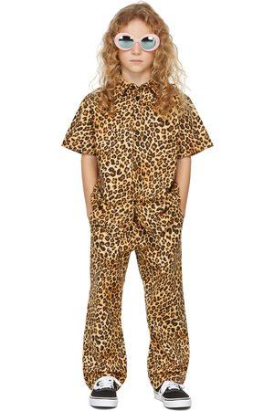 BO(Y)SMANS Kids Beige & Brown Leopard Trousers