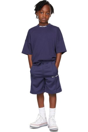 Palm Angels Kids Navy Track Shorts