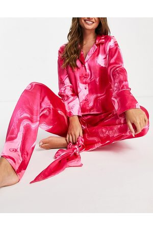 ASOS Marble oversized shirt & trouser pyjama set with scrunchie in pink