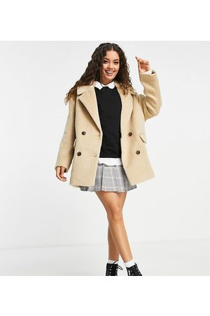 ASOS ASOS DESIGN Petite double breasted coat in camel-Brown