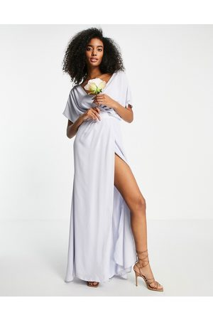 ASOS Bridesmaid short sleeved cowl front maxi dress with button back detail in blue