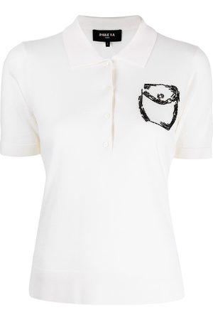 Paule Ka Dames Poloshirts - Bead-embellished pocket polo shirt