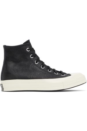 Converse Dames Sneakers - Black Embossed Leather Chuck 70 High Sneakers