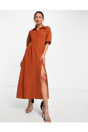 ASOS Button through waist midi shirt dress in rust-Red