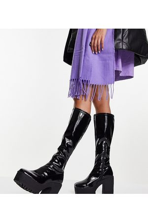ASOS Wide Fit Cashew heeled knee boots in black patent