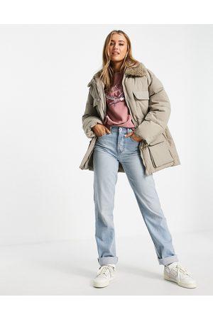 ASOS Borg collar four pocket puffer jacket in beige-Brown