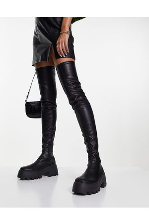 ASOS Kaya chunky over the knee boots in black