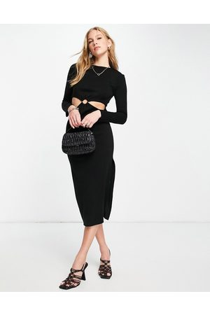 ASOS Knitted midi dress with ring waist detail in black