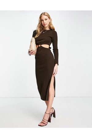 ASOS DESIGN Knitted midi dress with ring waist detail in brown