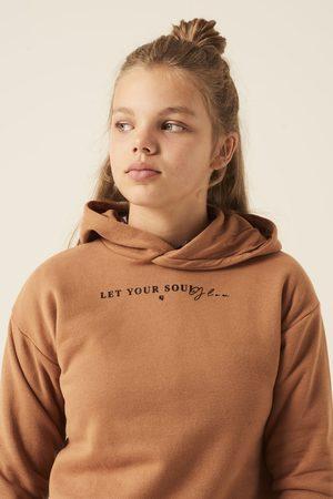 Garcia Meisjes Hoodies - Bruine hoodie met teksprint j12661 2081 brown glow