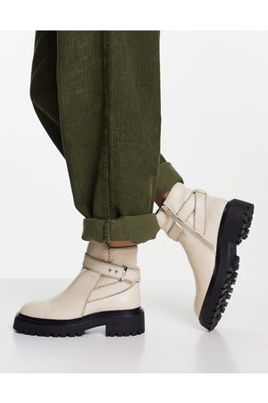 ASOS Alani chunky buckle boots in natural-Neutral
