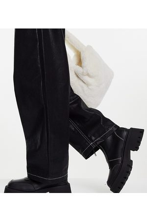 ASOS Wide Fit Autumn square toe front zip boots in black