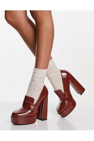 ASOS Pippin platform heeled loafers in tan-Brown
