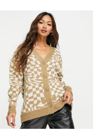 ASOS Oversized cardigan in distorted check pattern-Multi