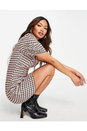 ASOS Puff sleeve boucle mini dress in bright check-Multi