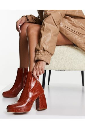 ASOS Era high-heeled platforms boots in tan croc-Brown