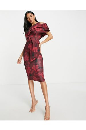 ASOS Peekaboo shoulder tuck midi pencil dress in print red floral