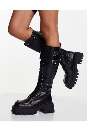 ASOS Dames Veterlaarzen - Cranberry chunky lace up knee boots in black