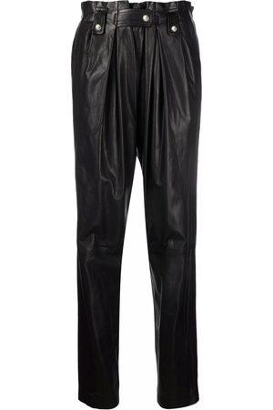 IRO Dames Leren broeken - Leather paperbag trousers