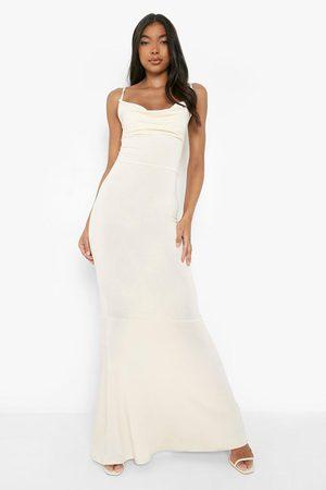 Boohoo Dames Lange jurken - Tall Gerecyclede Strakke Maxi Jurk Met Col En Fishtail, Champagne