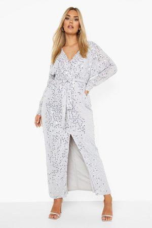 Boohoo Dames Lange jurken - Plus Maxi Jurk Met Split En Pailletten, Light Grey