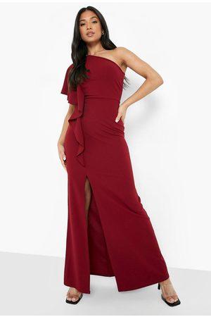Boohoo Dames Asymmetrische jurken - Petite Asymmetrische Scuba Maxi Jurk Met Ruches, Wine