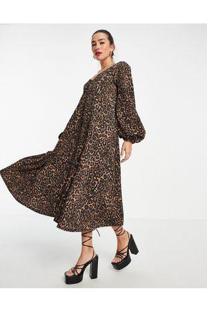 ASOS Textured smock midi dress with v neck in leopard print-Multi