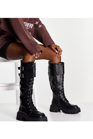 ASOS Wide Fit Cranberry chunky lace up knee boots in black