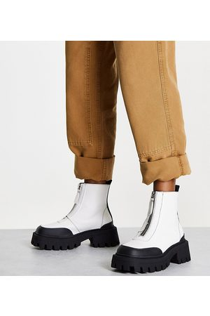 ASOS Wide Fit Autumn square toe front zip boots in white