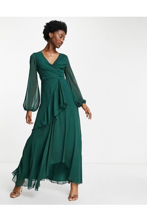 ASOS Wrap waist maxi dress with double layer skirt in forest green