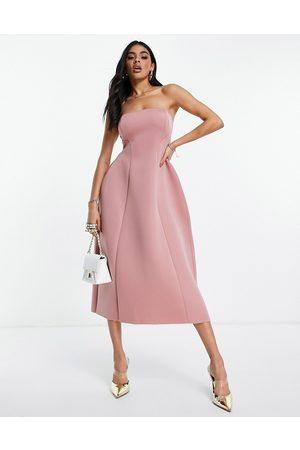 ASOS Bandeau open back midi skater dress in dusky pink-Multi