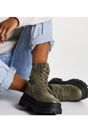 London Rebel Wide fit super chunky lace up boots in khaki-Green